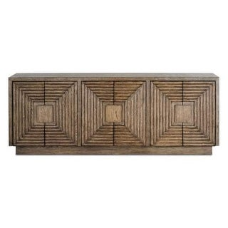 """Currey and Company 3252 Morombe 84.25"""" Wide Wooden Credenza - distressed cocoa"""
