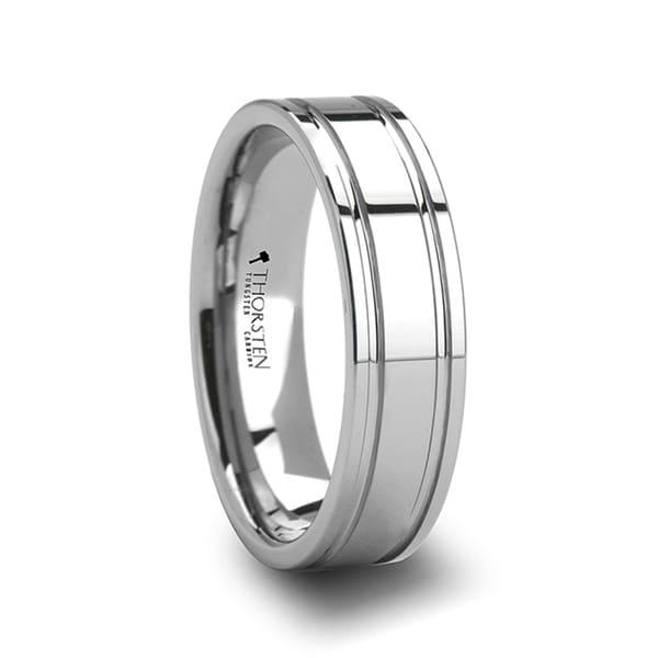 THORSTEN - ANCHORAGE Dual Offset Grooves Mens Tungsten Carbide Wedding Ring - 6mm