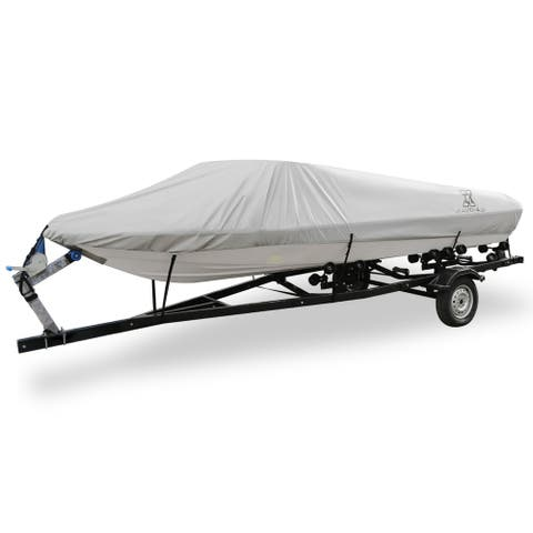 14-16ft 300D Polyester Boat Cover Waterproof Trailerable Gray V-Hull Protector - Grey - Fit Length:14-16ft,Beam Width: 68""