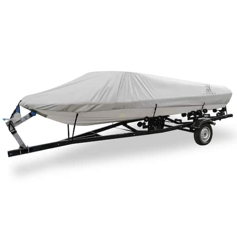 "14-16ft 90"" 300D Polyester Boat Cover Waterproof Gray V-Hull Protector - Grey - Fit Length:14-16ft,Beam Width: 90"""