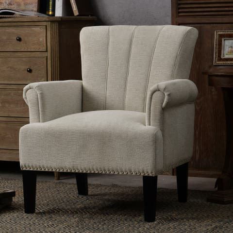 Accent Rivet Tufted Polyester Armchair with Sinuous Spring Seat -Cream