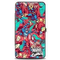 Marvel Comics Marvel Comics Logo 5 Retro Avenger Superhero Poses Stacked Hinge Wallet One Size - One Size Fits most