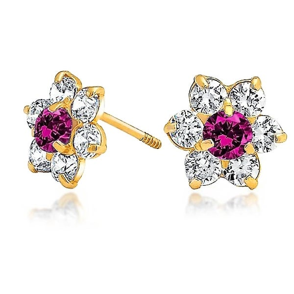 14K Yellow Gold Plated Ruby Red CZ Screwback Earrings Womens Jewellery