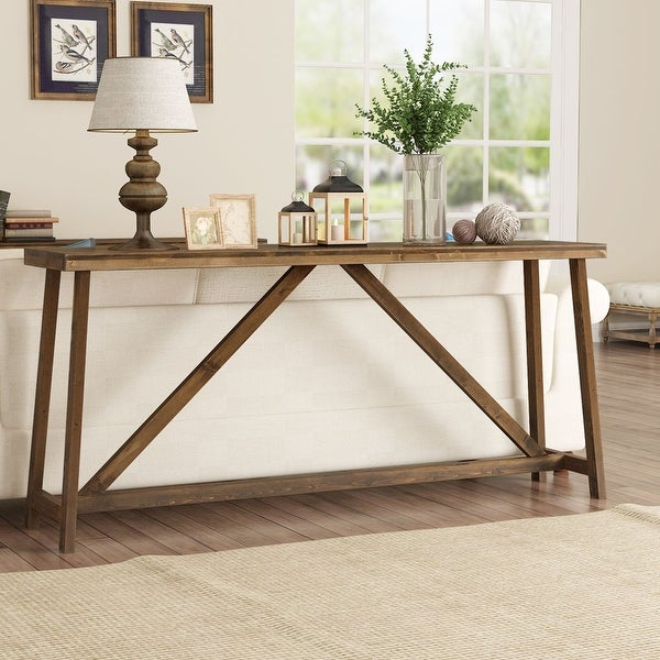 Extra-long sofa table, solid wood behind the sofa table. Opens flyout.