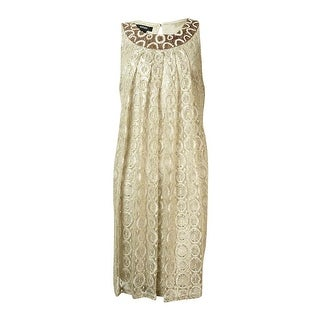 Alfani Women's Beaded Sequined Lace Halter Dress - Natural