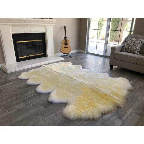 "Dynasty 10-Pelt Luxury Long Wool Sheepskin Light Beige Shag Rug - 5'5"" x 8'6"""