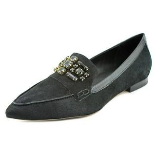 Donald J Pliner Aldena Women Pointed Toe Suede Black Flats