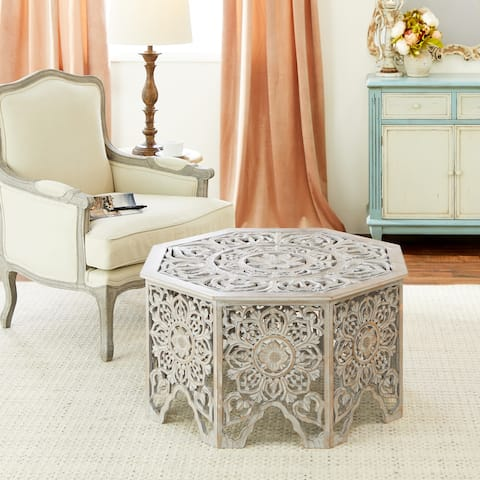 """Gray-Washed Decorative Carved Wood Coffee Table 33"""" x 18"""" - 33 x 33 x 18"""