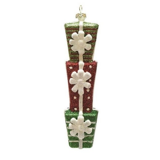 """6.5"""" Merry & Bright Green, Red and White Glittered Stacked Gift Box Christmas Ornament"""