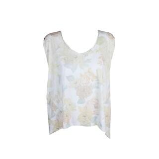 Free People White Lemon Yellow Gardenia Printed High-Low T-Shirt S