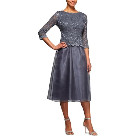 Alex Evenings Womens Petites Special Occasion Dress Lace Sequined