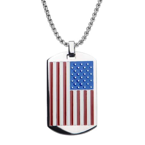 Inox Adult Stainless Steel American Flag Dog Tag Pendant with Chain 22 inch long with 2 inch extender.
