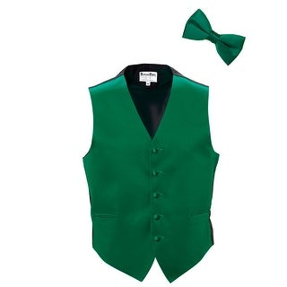 Emerald Green Satin Tuxedo Vest and Bow Tie