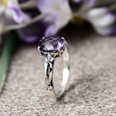 Amethyst, Tourmaline,Garnet,Mystic Topaz Sterling Silver Oval Filigree Ring by Orchid Jewelry