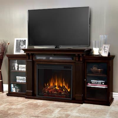 Calie Dark Walnut Electric Fireplace Media Cabinet - 67L x 18W x 30.5H