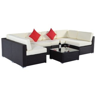 Shop Costway 7pc Furniture Sectional Pe Wicker Patio Rattan Sofa Set