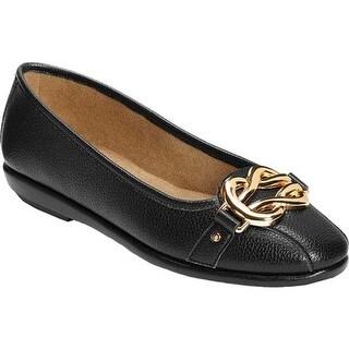A2 by Aerosoles Women's Better Luck Flat Black Faux Leather