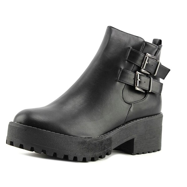 Coolway Bashita Women Round Toe Synthetic Black Combat Boot