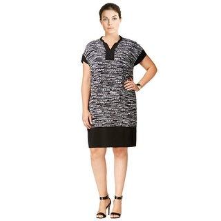 Calvin Klein Plus Size Printed Cap Sleeve V-Neck Shift Dress