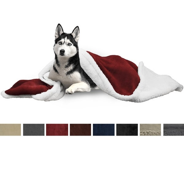Pet Ami Large Dog Blanket    Fluffy Sherpa Dog Blanket For Dog Bed, Couch|Wine   50x40, Large   Large by Generic