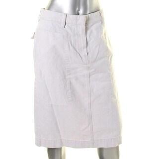 DKNY Womens Pencil Skirt Banded Waist Denim
