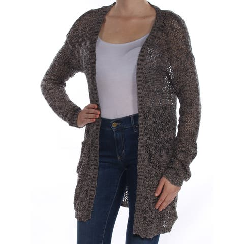 MATERIAL GIRL Womens Gray Knitted Long Sleeve Open Cardigan Sweater Size: M
