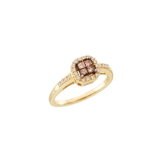 10k Yellow Gold Cognac-brown Colored Princess Diamond Womens Small Invisible-set Ring 1/4 Cttw - Brown/White