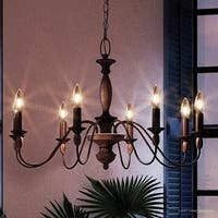 "Luxury Americana Chandelier, 19.5""H x 29""W, with Shabby Chic Style, Stained Wood Corinthian Stem, Rustic Bronze Finish"