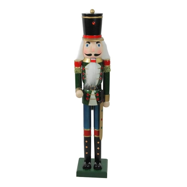 """36.75"""" Green and Blue Glittered Wooden Christmas Nutcracker Soldier with Sword"""