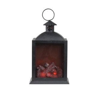 "Link to 10"" LED Lighted Black Chimney Lantern with Faux Fire Christmas Decoration Similar Items in Decorative Accessories"