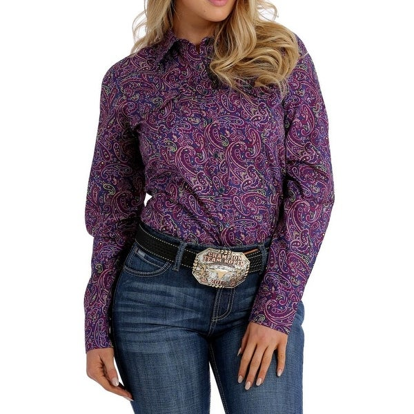 3eca5930f2a Shop Cinch Western Shirt Women Long Sleeve Pearl Snap Print Navy - Free  Shipping On Orders Over  45 - Overstock - 19735824