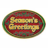 "Club Pack of 12 Printed Christmas Season's Greetings Signs 18"" - green"