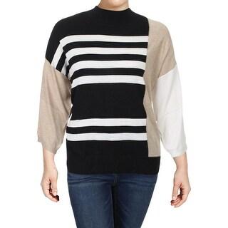 Vince Camuto Womens Turtleneck Sweater Drop Shoulder Colorblock