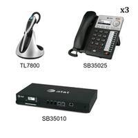 ATT SB35010 Plus 3x SB35025 Plus 1x TL7800 ATT Syn 248 SB35010 With (3) Multi-Line Desksets plus  Cordless  headset