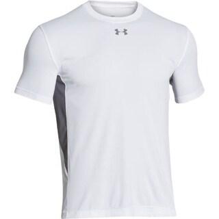 Boys Under Armour 1259605 HeatGear Short Sleeve Athletic T-Shirt Tee White YL
