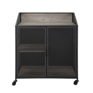 """Offex 33"""" Industrial Bar Cabinet with Mesh - Grey Wash"""