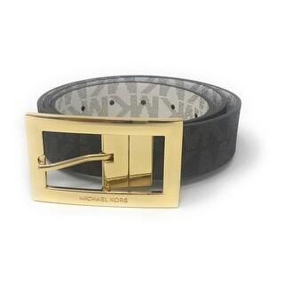 Michael Kors Women's Rectangle Buckle Reversible Brown To Vanilla Logo Belt 551814C