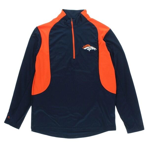 491e3251 Antigua Mens Denver Broncos Delta Quarter Zip Pullover Jacket Navy -  Navy/Orange - M