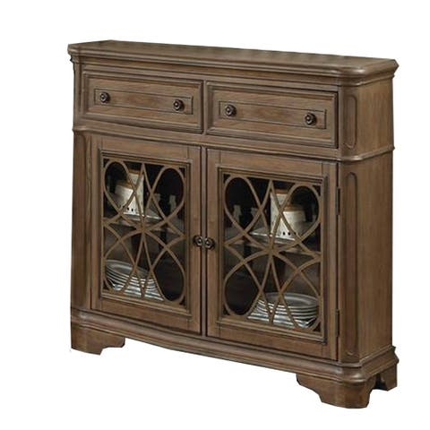 Traditional Style Wooden Server with Two Spacious Drawers, Brown