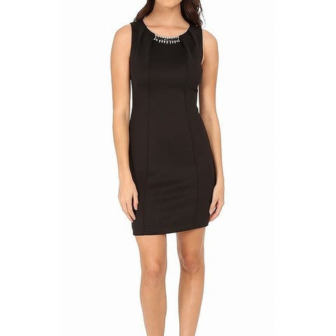 Jessica Simpson Womens Dress Deep Black Size 8 Sheath Embellished
