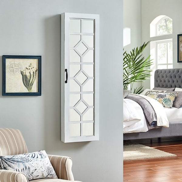 FirsTime & Co.® White Eloise Farmhouse Jewelry Armoire, American Crafted, White, Wood, 14 x 3.75 x 43 in - 14 x 3.75 x 43 in