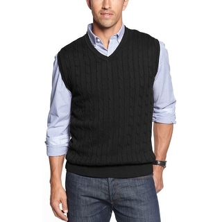 Club Room Cabled Knitwear V Neck Sweater Vest Deep Black Cotton