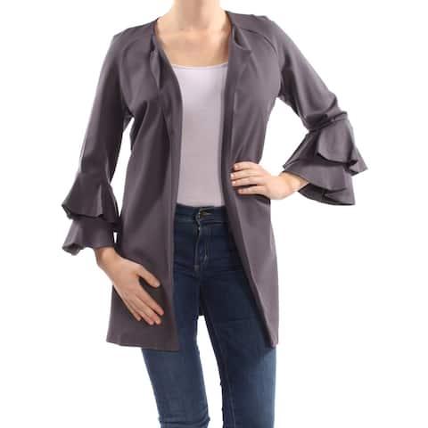 KENSIE Womens Gray Bell-sleeve Ponte-knit Jacket Size M