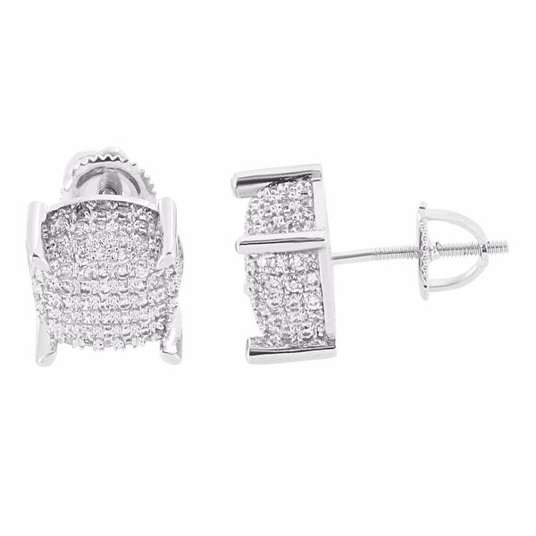 9mm Iced Out Earrings Mens Lab Diamonds Silver Tone Screw Back Studs Mens