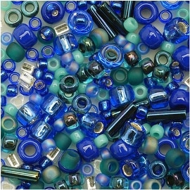 Toho Multi-Shape Glass Beads 'Mahou' Blue/Green Color Mix 8 Gram Tube