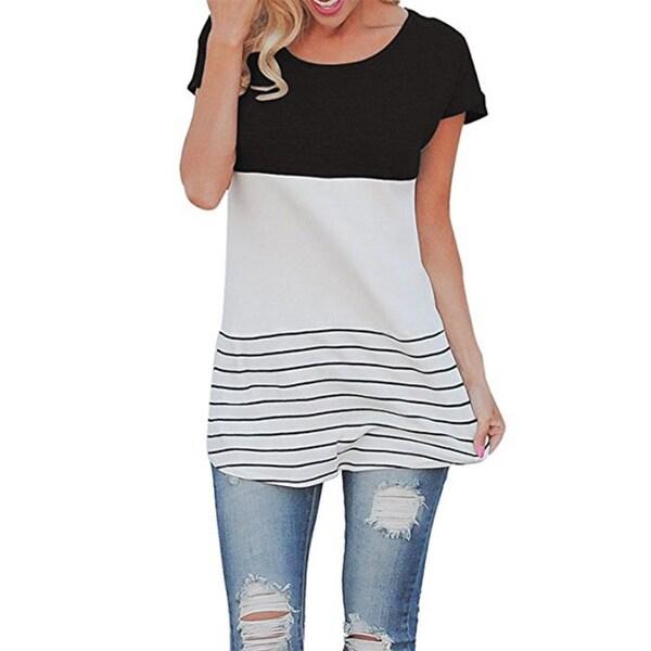 Women's Cotton Back Lace Color Block Short Sleeve T-Shirts Blouses