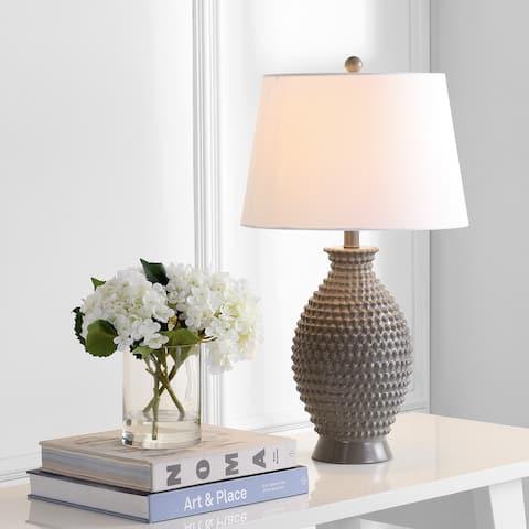 "SAFAVIEH Lighting 27-inch Rosten Grey LED Table Lamp (Set of 2) - 15""x15""x27"""