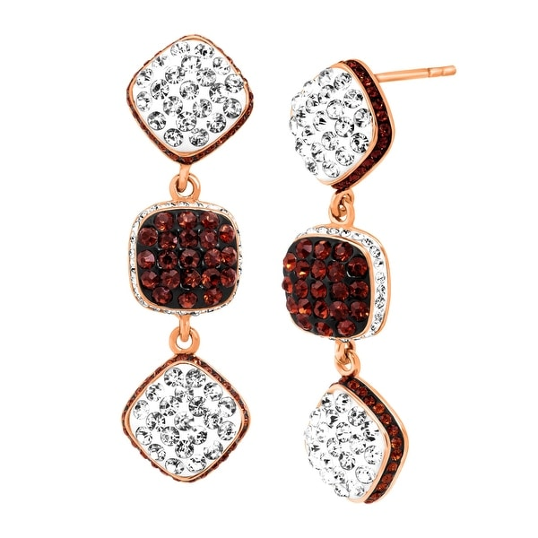 Crystaluxe Square Link Drop Earrings with Swarovski Crystals in 18K Rose Gold-Plated Sterling Silver - Red