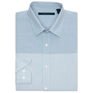 Perry Ellis Plaid and Striped Long Sleeve Shirt Azzuro Blue X-Large