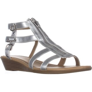 Rialto Gracia Front Zip Gladiator Sandals, Silver